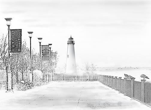 Tri-Centennial Lighthouse Milliken State Park,  Detroit Michigan