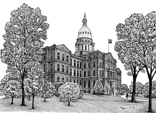Capitol Building Lansing Michigan Line Art by Maggie LaNoue