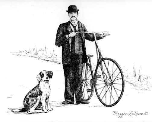 Old time Bicyclist with dog