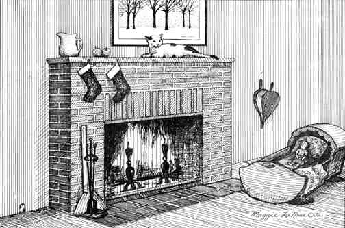 Fireplace with stockings hung old fashioned line art