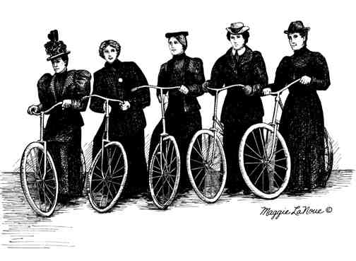 Five Lady Bicyclists