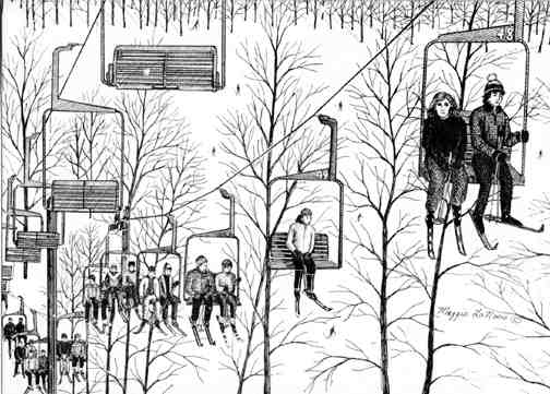 Ski Lift line art drawing